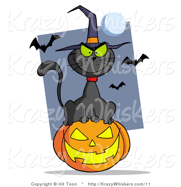 Royalty Free Vector Critter Clipart of a Evil Black Cat Wearing a Witch Hat Sitting on a Jack O Lantern, with Bats and a Full Moon