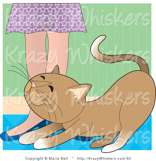 Vector Critter Clipart of a Brown Cat Rubbing Against a Lady's Legs - Royalty Free