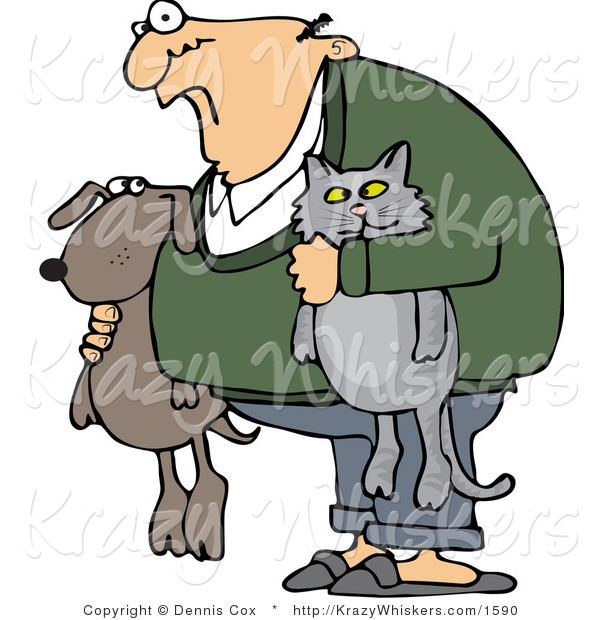 Vector Critter Clipart of a Crazy Old Man with His Pets - Royalty Free