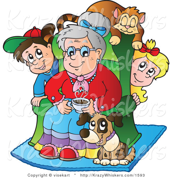 Vector Critter Clipart of a Pup and Cat with Grand Kids and Granny - Royalty Free
