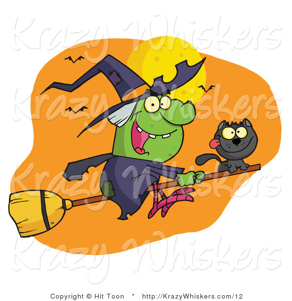 Vector Critter Clipart of a Wicked Halloween Witch and Her Black Cat Flying by Bats and a Full Moon on a Broom Stick