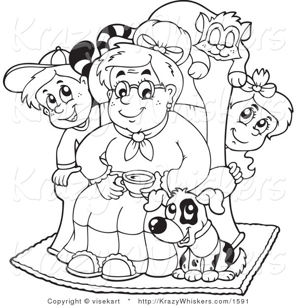 Vector Critter Clipart of an Outlined Granny with Her Pets and Grandchildren - Royalty Free