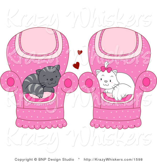 Vector Critter Clipart of Gray and White Cats Cuddled in Their Own Chairs - Royalty Free
