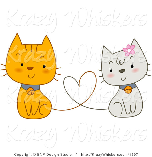 Vector Critter Clipart of White and Orange Cats with Heart Tails - Royalty Free