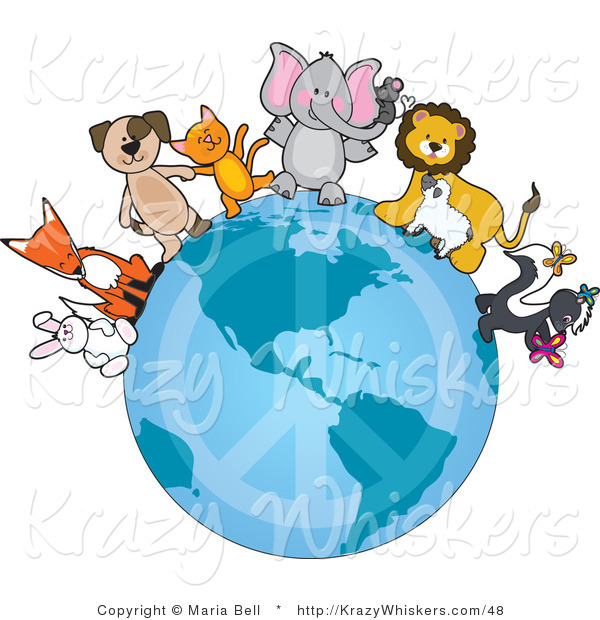 Vector Kitty Clipart of Animal Friends on a Peace Earth - Royalty Free