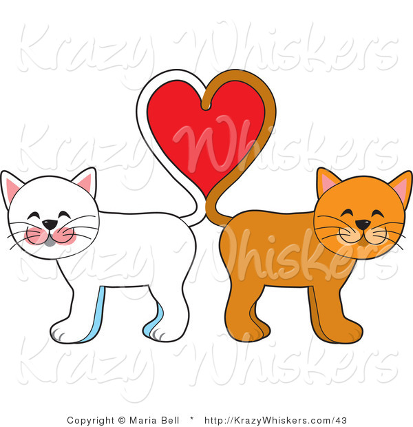 Vector Kitty Clipart of White and Orange Cats with Their Tails Forming a Heart - Royalty Free
