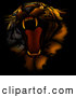 Critter Clipart of a Bad Tempered Tiger Roaring, on a Dark Background with Orange Lighting by Dero