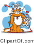 Critter Clipart of a Big, Fluffy Orange Cat with a White Dog on Its Head and Another Dog on Its Arm by Andy Nortnik