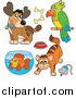 Critter Clipart of a Cartoon Happy Dog, Parrot, Cat and Fish by Visekart