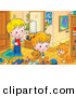 Critter Clipart of a Cheerful Boy and Girl Playing in a Room, Watching a Cat Groom Its Paw by Alex Bannykh