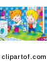 Critter Clipart of a Cheerful Boy and Girl Standing by a Washing Machine, a Cat Standing Behind a Doorway by Alex Bannykh