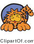 Critter Clipart of a Chubby Happy Orange Cat in a Blue Circle by Andy Nortnik