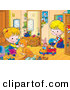 Critter Clipart of a Cute Orange Cat Playing with a Boy in a Girl in Their Room by Alex Bannykh