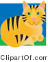 Critter Clipart of a Cute Orange Tabby Cat with Black Stripes and Green Eyes, Sitting in Grass by Maria Bell