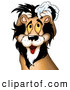 Critter Clipart of a Cute Yellow Eyed Male Lion Washing His Mane with Shampoo on White by Dero