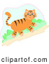 Critter Clipart of a Friendly Cute Tiger Walking Uphill by