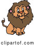 Critter Clipart of a Furry Brown Male Lion with a Big Mane on White by Dennis Holmes Designs