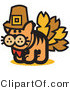 Critter Clipart of a Ginger Cat in a Pilgrim Hat Disguised As a Thanksgiving Turkey by Andy Nortnik