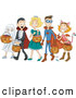 Critter Clipart of a Group of Halloween Kids Trick or Treating As a Ghost, Vampire, Princess, Super Hero and Cat by BNP Design Studio