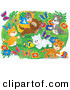 Critter Clipart of a Group of Many Happy Kittens Playing with a Toy Fish and Chasing Butterflies Outdoors in a Flower Garden by Alex Bannykh