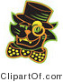 Critter Clipart of a Halloween Black Cat Wearing a Hat and a Bow and a Yellow Monacle over His Eye by Andy Nortnik