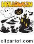Critter Clipart of a Halloween Icons and Text by Visekart