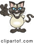 Critter Clipart of a Happy Peaceful Siamese Cat Smiling and Gesturing the Peace Sign with His Hand by Dennis Holmes Designs