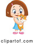Critter Clipart of a Little Girl Holding Her Orange Kitty by Yayayoyo