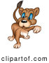 Critter Clipart of a Mean Blue Eyed Lioness Walking Forward on White by Dero