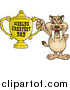 Critter Clipart of a Sabre Tooth Tiger Holding a Golden Worlds Greatest Dad Trophy by Dennis Holmes Designs