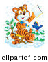 Critter Clipart of a Smart Orange Tiger Cub and Bird in the Snow, Coloring in an Activity Book by Alex Bannykh