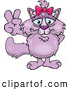 Critter Clipart of a Smiling Peaceful Pink Cat Smiling and Gesturing the Peace Sign with His Hand by Dennis Holmes Designs