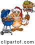 Critter Clipart of an Orange Cat Wearing a Santa Hat and Holding Food on a Fork by Dennis Holmes Designs