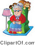 Vector Critter Clipart of a Senior Woman with a Cat Sleeping on Her Chair - Royalty Free by Visekart