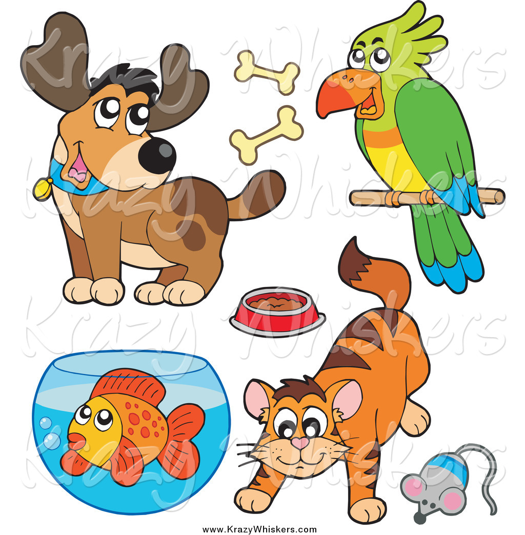 Critter Clipart Of A Cartoon Happy Dog Parrot Cat And Fish By