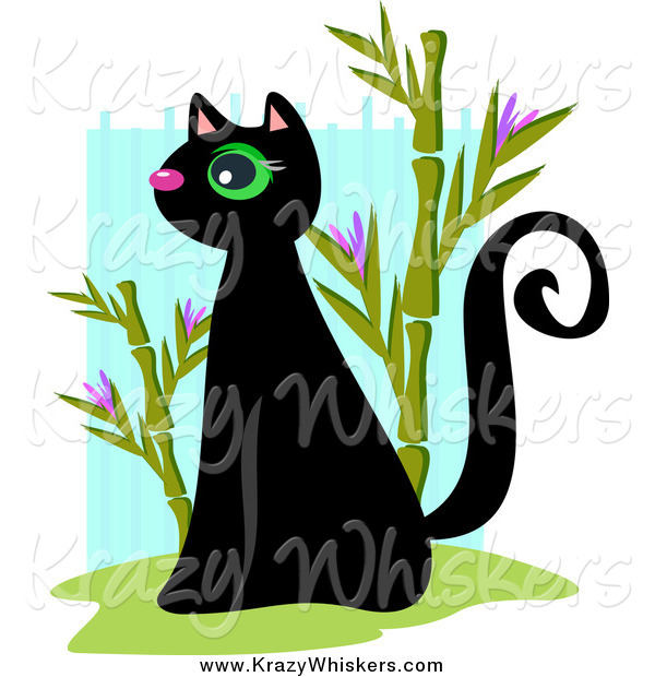 Critter Clipart of a Black Sitting Kitty and Bamboo