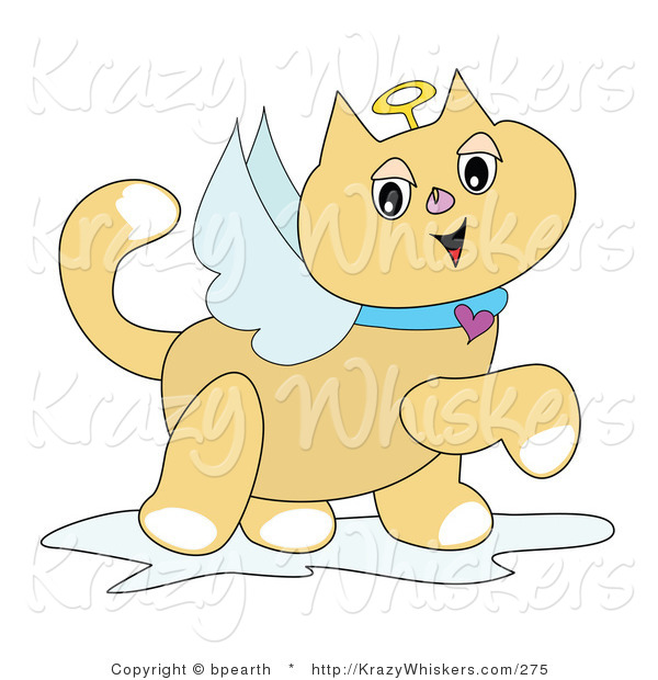 Critter Clipart of a Winged Tan Angel Cat with a Golden Halo and Heart Collar, Prancing by