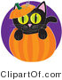 Critter Clipart of a Cute Black Kitten with Big Green Eyes, Peeping out from Inside a Halloween Pumpkin, with the Top on His Head by Maria Bell
