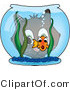 Vector Critter Clipart of a Cat Looking Through a Goldfish Bowl at a Scared Fish by Pams Clipart